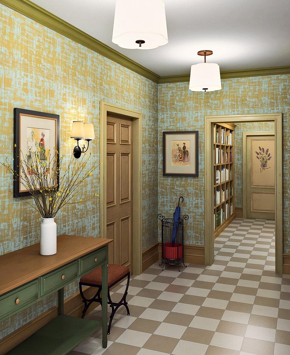 Вдоль образовавшейся в результате перепланировки глухой стены с обеих сторон устанавливаются шкафы, которые улучшают шумоизоляцию комнаты. Между парными шкафами с распашными дверцами разм...