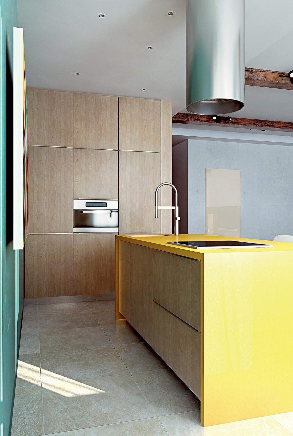 Для отделки внешних стен санузла и фасадов мебели кухни выбраны схожие материалы, поэтому объём влажной зоны и высокие шкафы со встроенной техникой (духовкой с функцией СВЧ, посудомоечной...