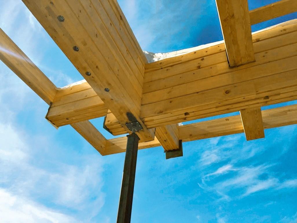 Для компенсации усадки при опоре на столб предусматривают регулировочную шпильку