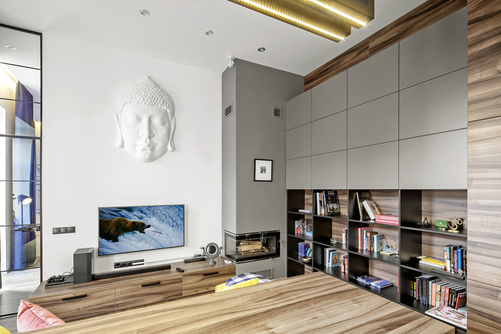 Стильный интерьер однокомнатной квартиры: минимализм с яркими деталями