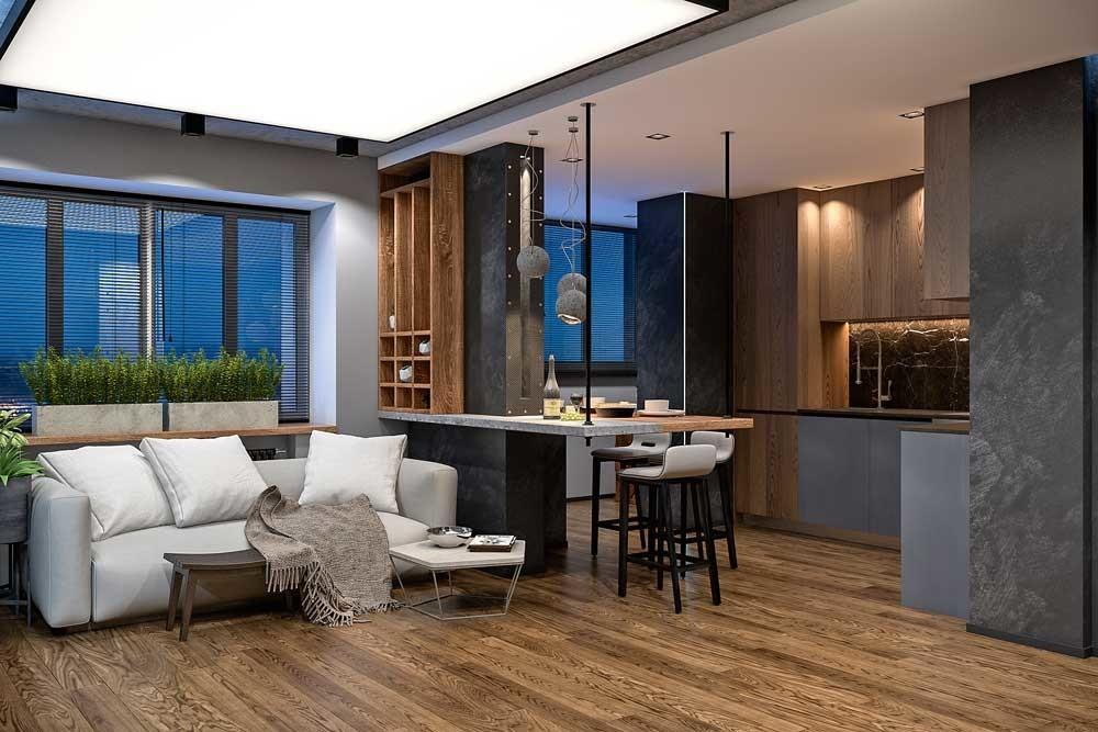Минималистичный дизайн маленькой квартиры: брутальный аскетизм для молодого хозяина