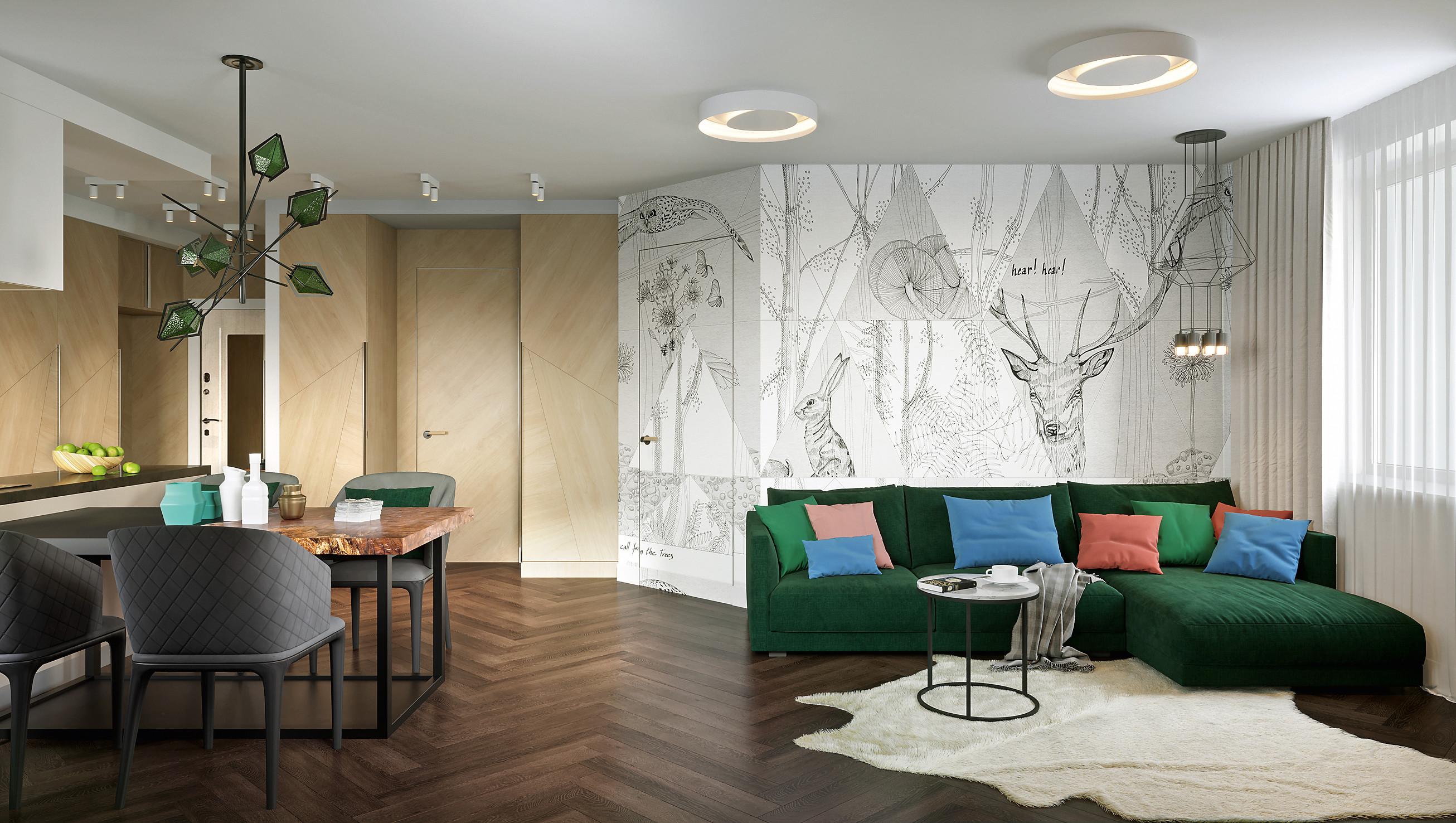 Стильная квартира для двоих с европейским вариантом зонирования