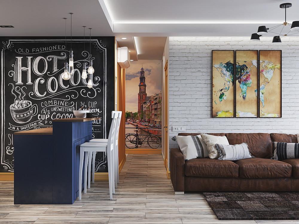Евродвушка в стиле лофт с отдельной спальней и кабинетом