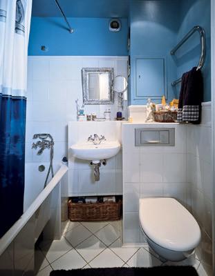 Плоскость, где нашлось место туалетным принадлежностям, образована торцами двух коробов, внутри которых скрыты подводы к умывальнику и система крепления унитаза (умывальник<nbsp/>- $<nbsp/>30, унитаз<nbsp/>- $<nbsp/>294, ванна<nbsp/>- $<nbsp/>90)
