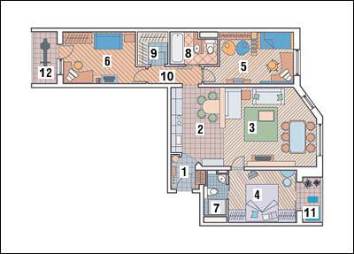 Трехкомнатная квартира в доме серии П55М: Четыре комнаты