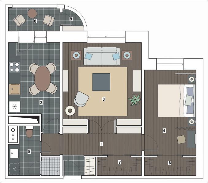 Двухкомнатная квартира в доме серии С-222: Немного симметрии
