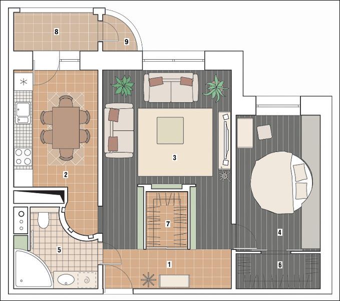 Двухкомнатная квартира в доме серии С-222: Винтажная коллекция