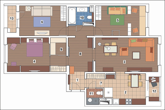 Четырехкомнатная квартира в доме серии П-3М: Апельсиновая радость
