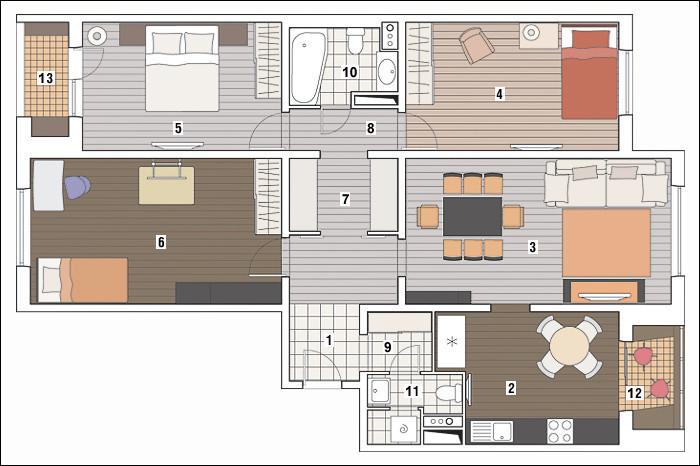 Четырехкомнатная квартира в доме серии П-3М: Загорелый интерьер