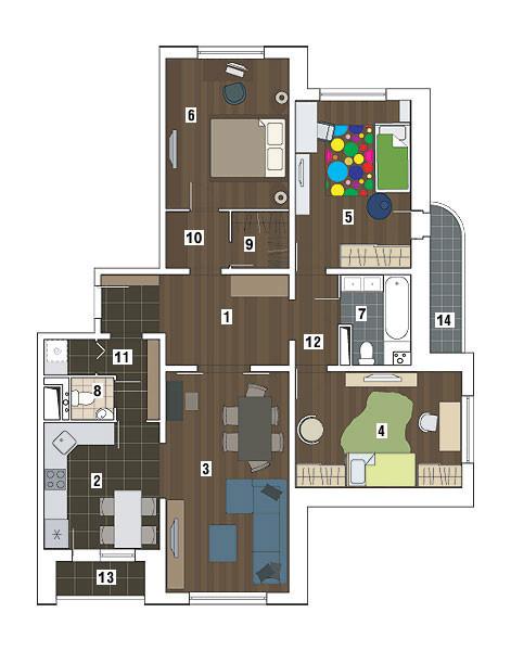 Четырехкомнатная квартира в доме серии П-3М: Цвет, свет и настроение
