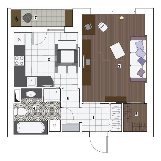 Однокомнатная квартира в доме серии П-3М: Тайны фиолетового цвета