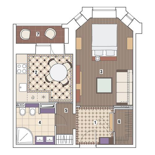 Однокомнатная квартира в доме серии И-79-99: Лиловые сумерки