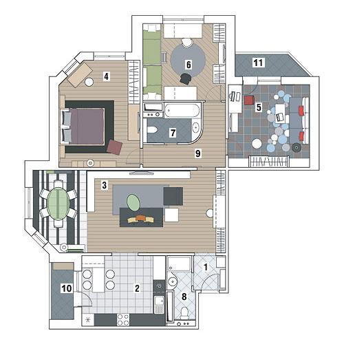 Четырехкомнатная квартира в доме серии МПСМ: Суперграфика