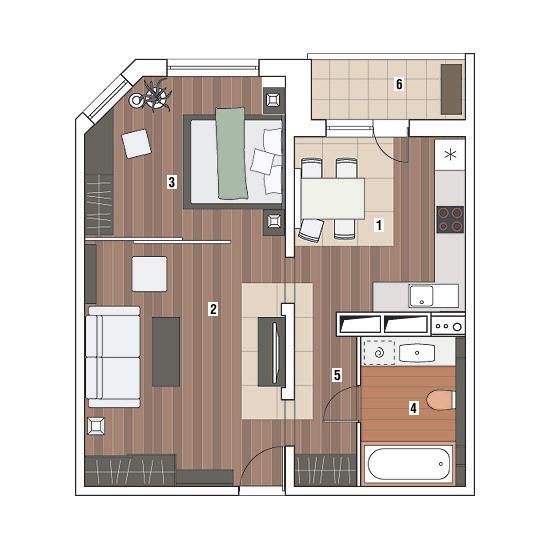 Однокомнатная квартира в доме серии МПСМ: У подножия Фудзиямы