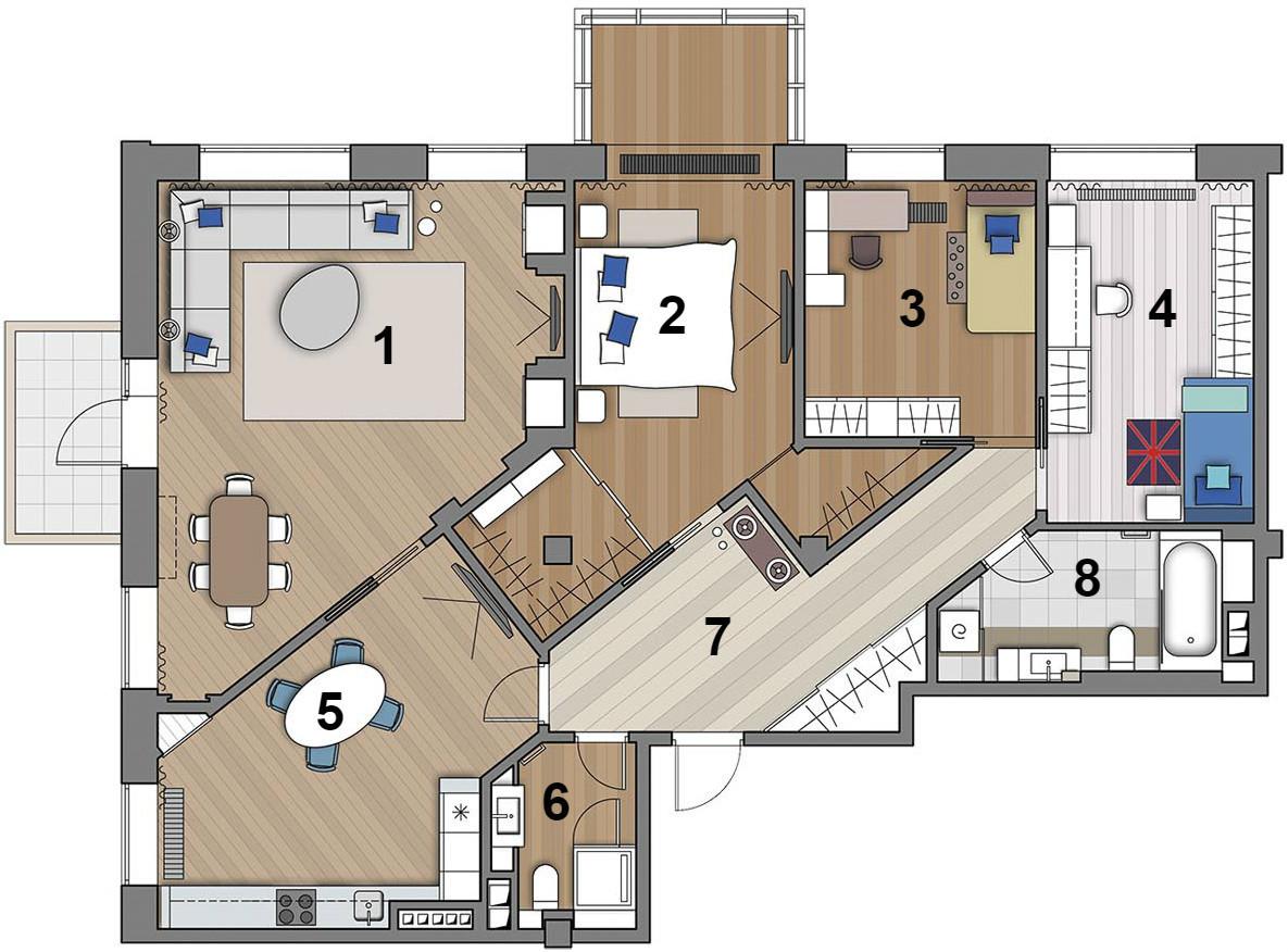 Интерьер прямоугольной квартиры