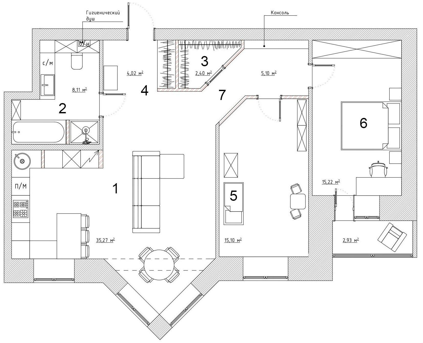 Интерьер квартиры в скандинавском стиле: блоки цвета и градиент