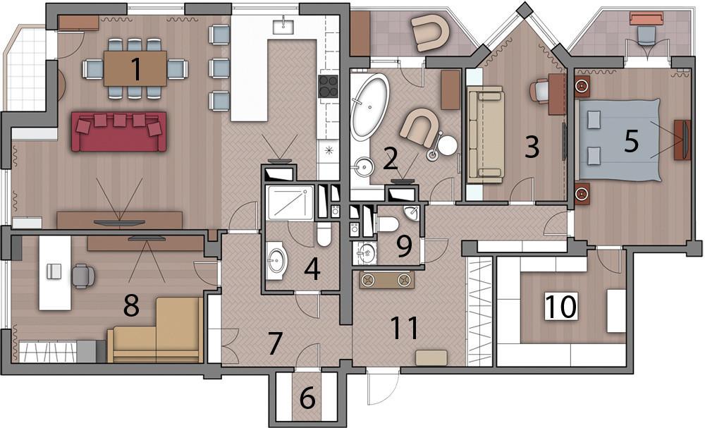 Дизайн объединённой квартиры: уютное пространство в духе загородной резиденции