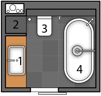 Маленький объединённый санузел, в котором уместились ванна, унитаз и стеллаж для хранения