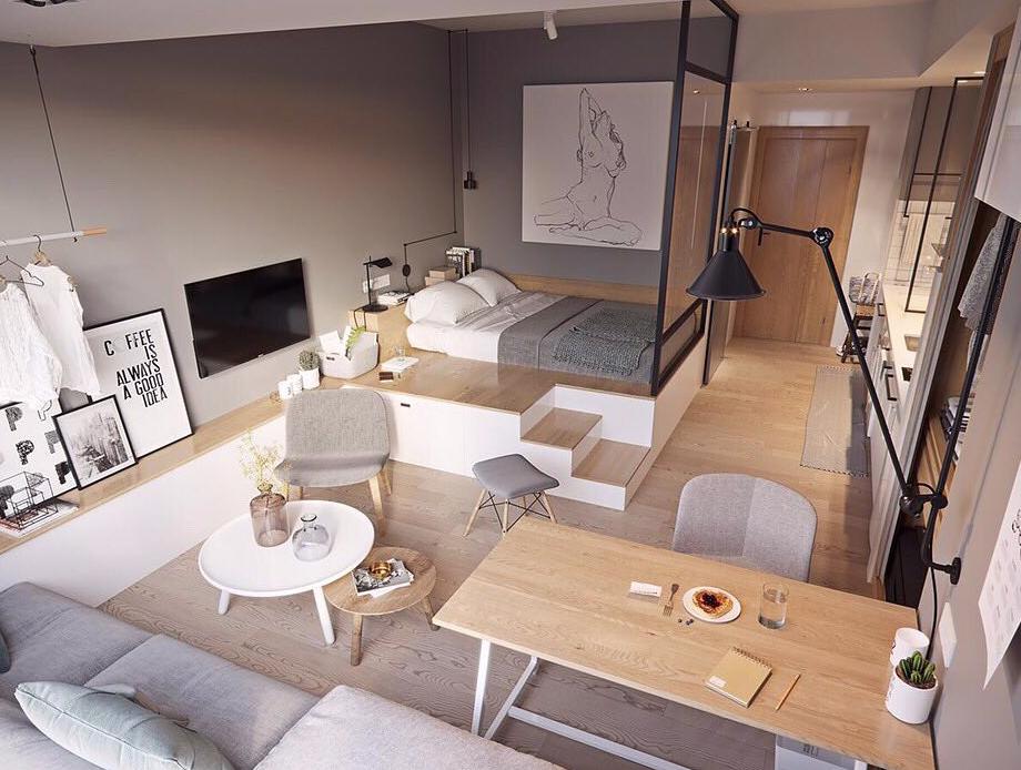 9 вариантов дизайна квартиры-студии 25 кв.м и фото, которыми можно вдохновиться