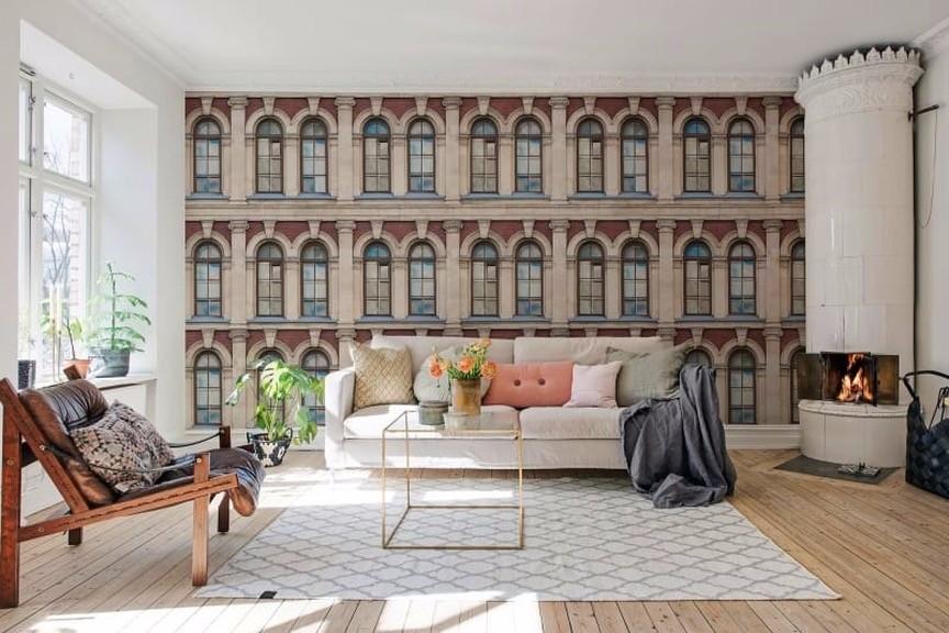Фотообои в интерьере гостиной: 60+ красивых решений