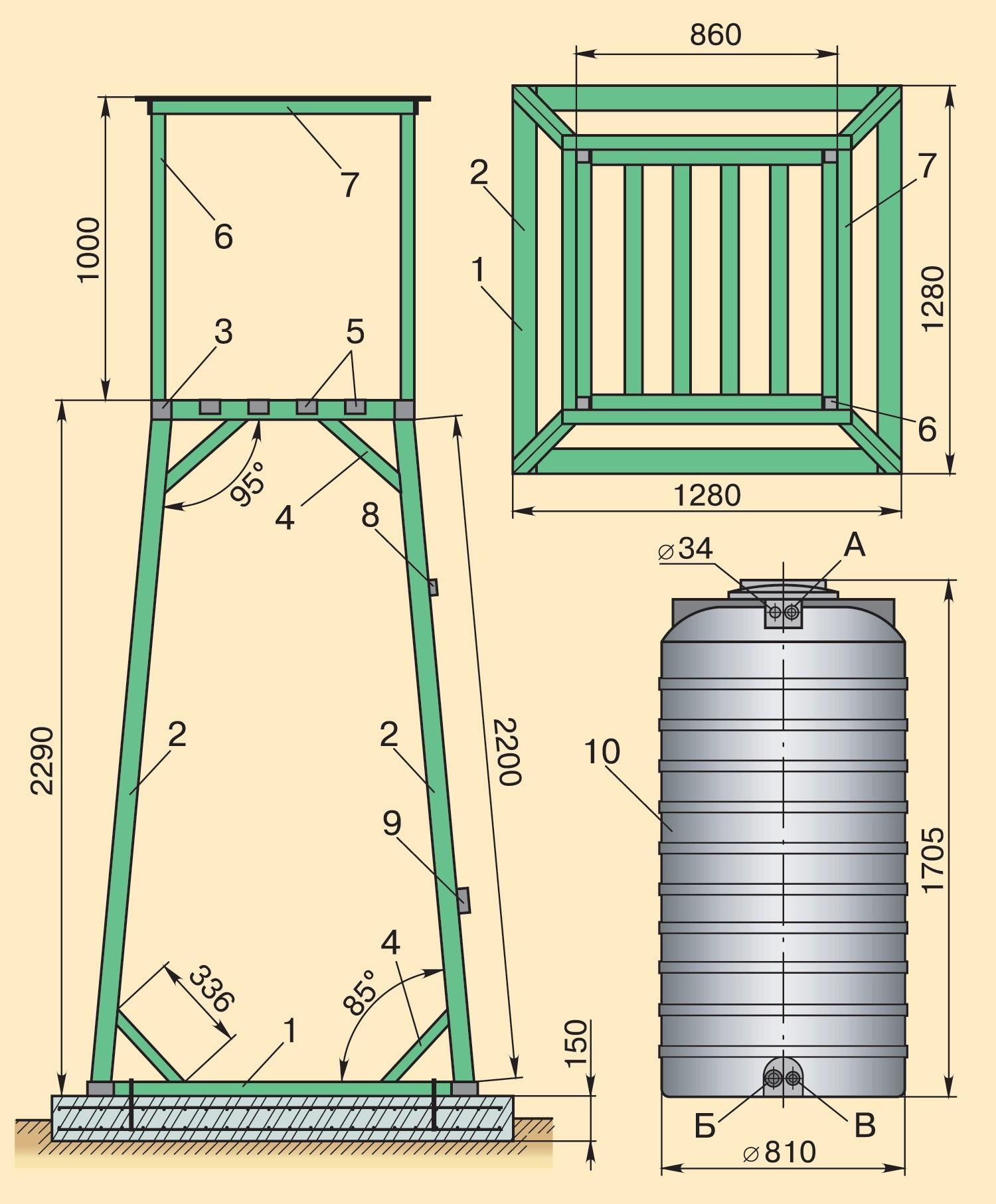 Устройство башни: 1—основание;  2—стойка;  3, 5—элементы площадки;  4—раскос;  6—стойка ограждения;  7—перила ограждения;  8, 9—деревянные поперечины;  10—бак для...
