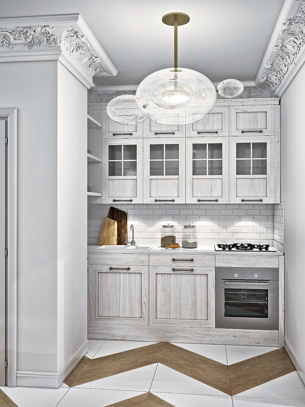 Прихожая, кухня, гостиная-столовая и холл образуют общественную зону, акцентированную с помощью единой отделки: узорного напольного покрытия, штукатурки на стенах, а также декора. Семейну...
