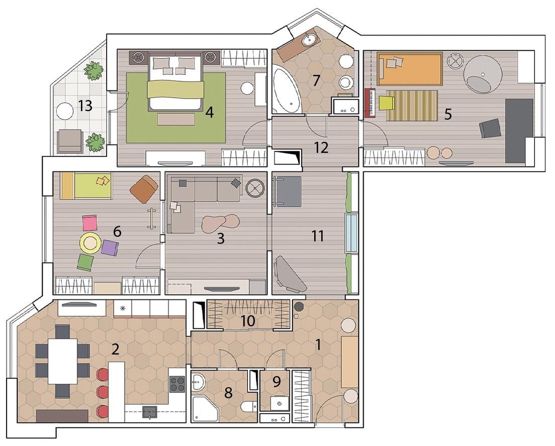 Экодизайн квартиры с фитостеной, искусственным водопадом и натуральными материалами в отделке