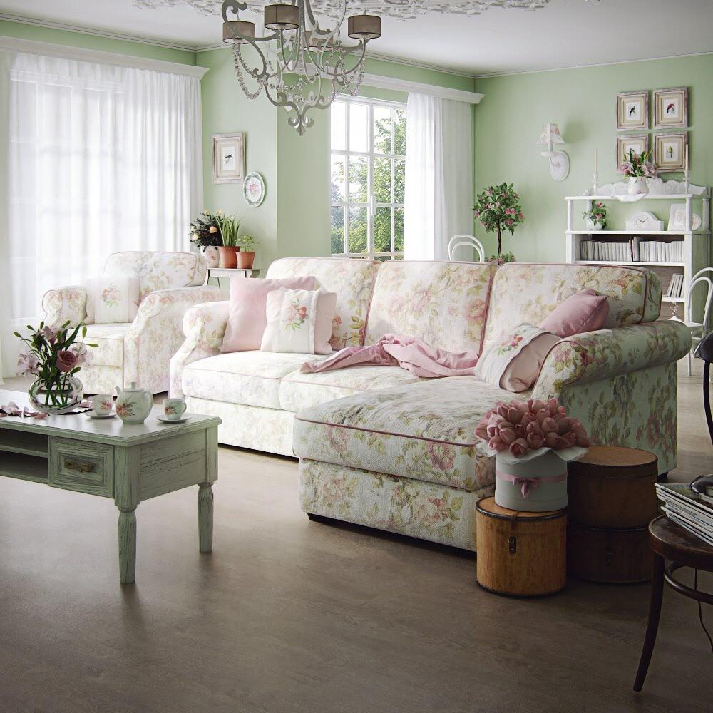 Интерьер гостиной в стиле прованс: 70+ фото и советы по оформлению