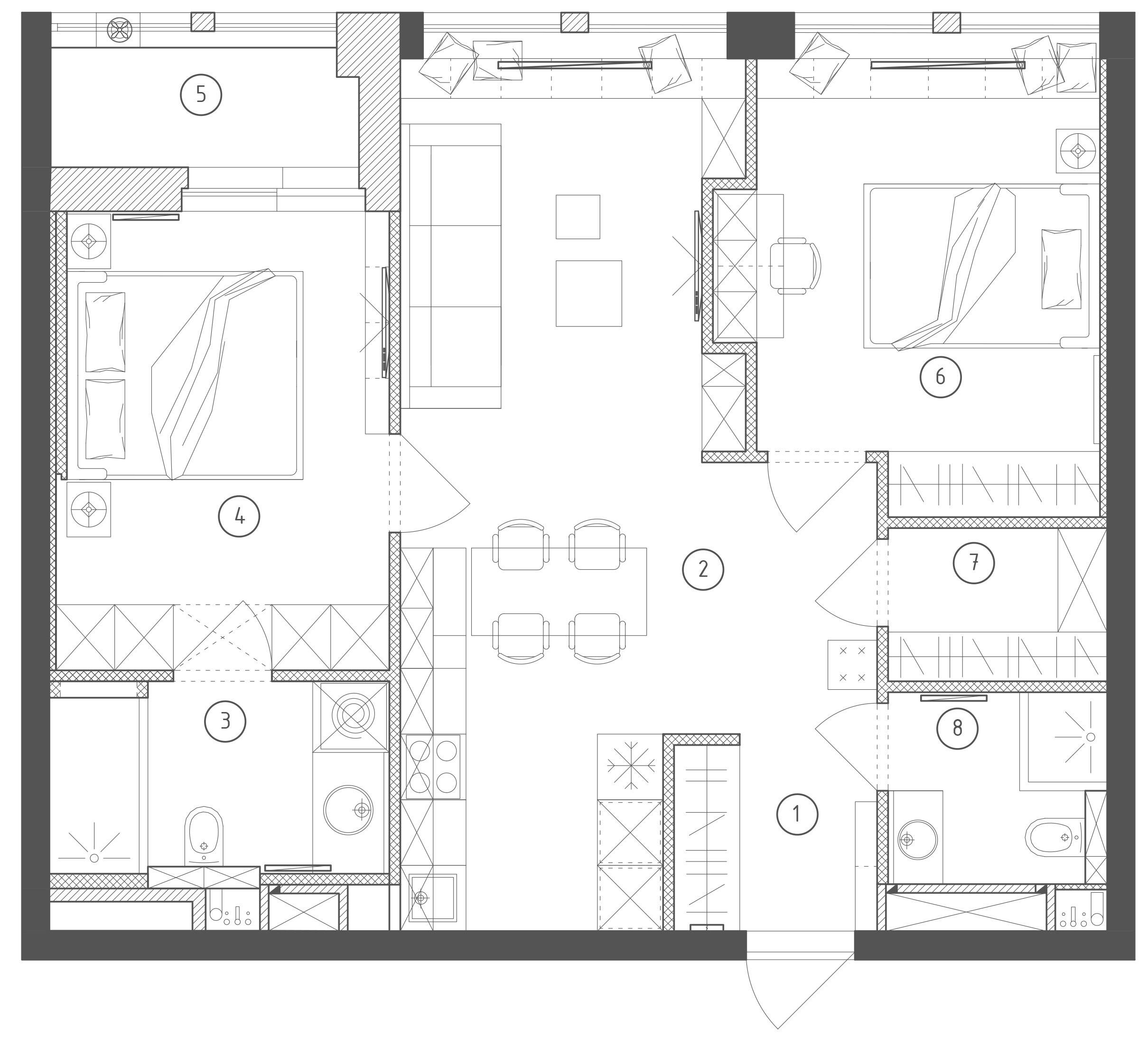Из двушки в трёшку: стильная квартира с гардеробной и двумя санузлами