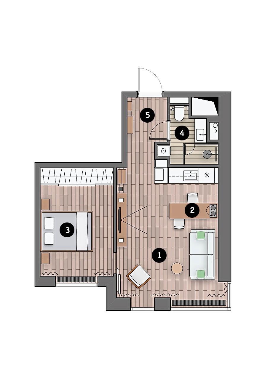 Маленькая уютная однушка в стиле лофт: светлые стены и деревянная отделка