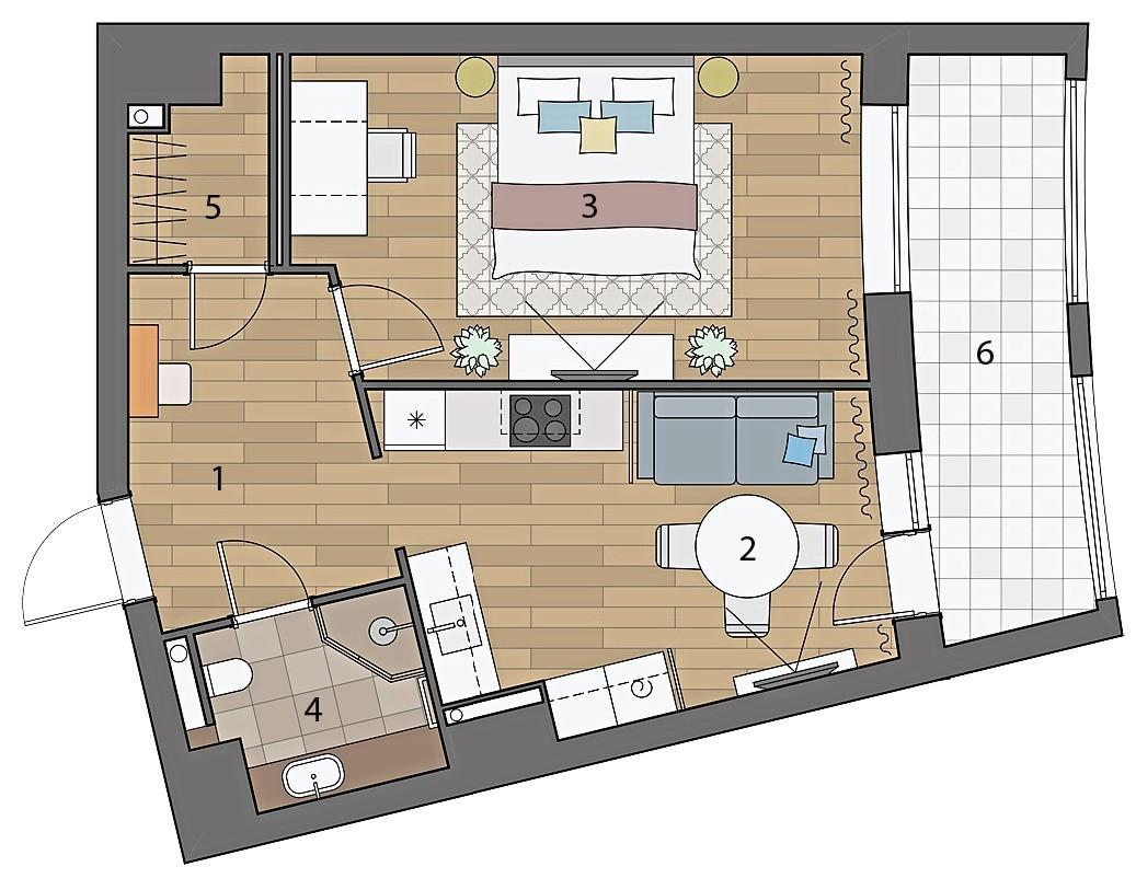Кухня-гостиная, спальня и гардеробная в однокомнатной квартире