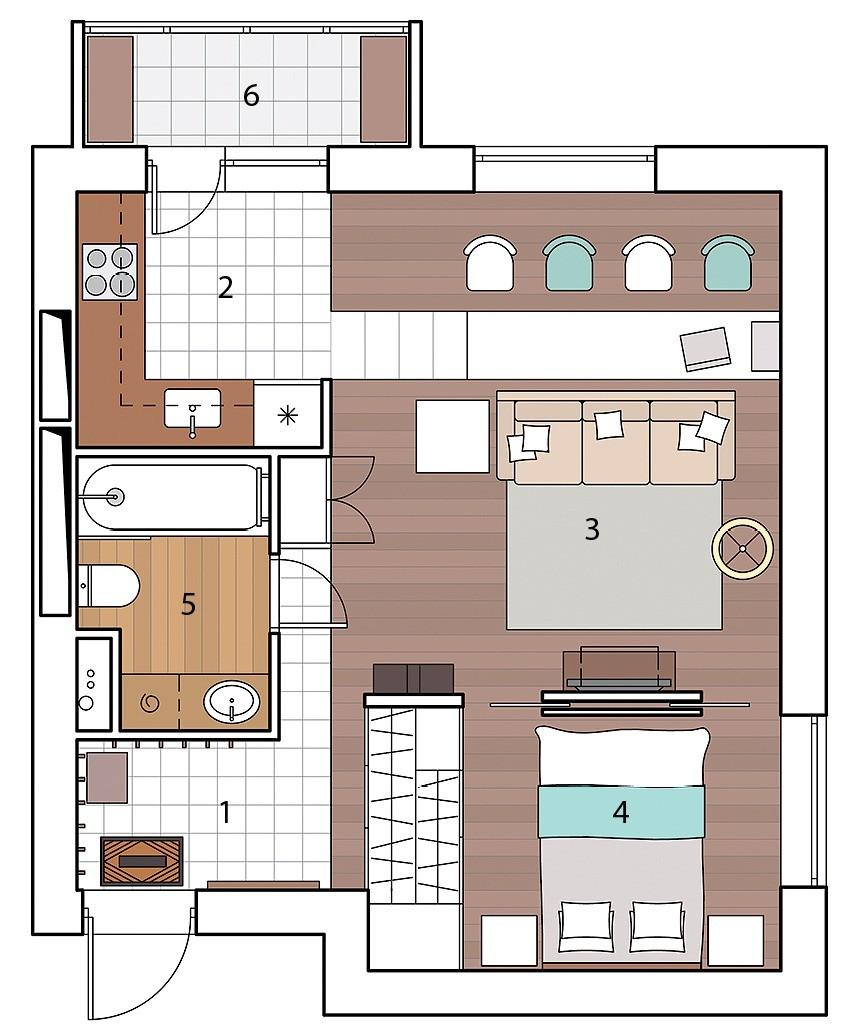 Квартира с мобильными перегородками: двушка, которая легко трансформируется студию