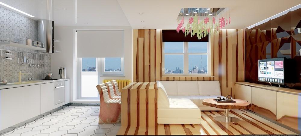 Квартира в стиле экоминимализм, наполненная яркими красками и геометрическими узорами