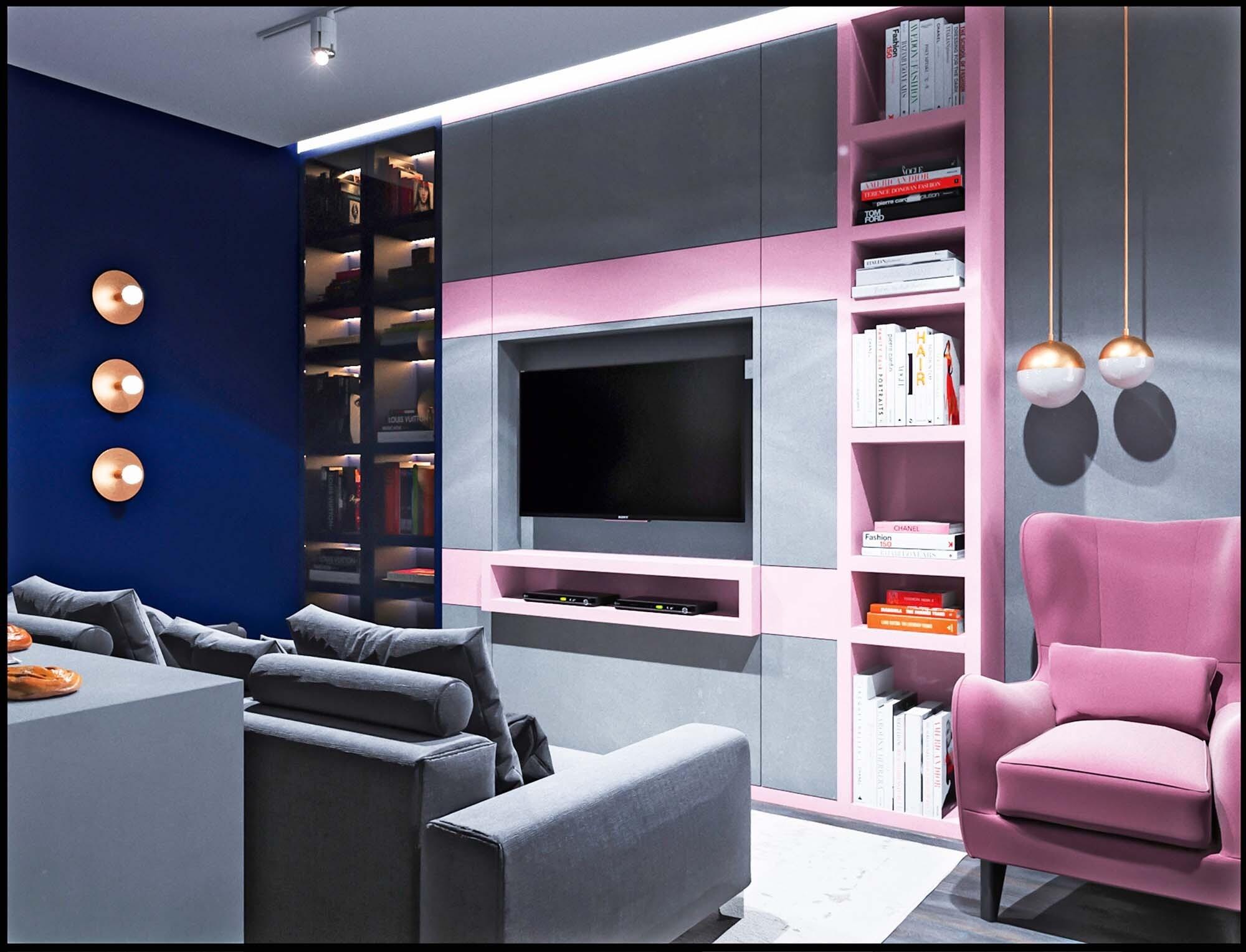 Однушка в сине-розовых тонах с мини-кабинетом и гостевым санузлом