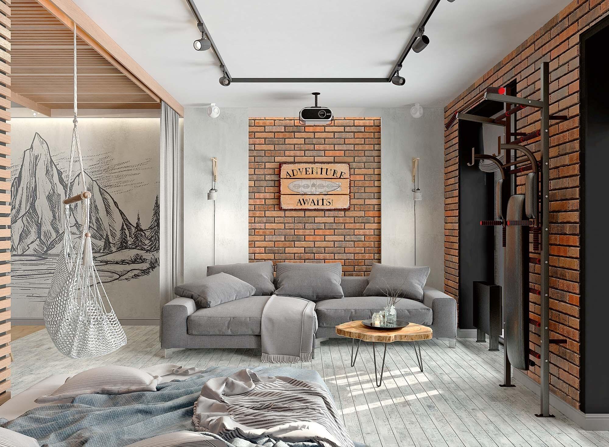 Студия со спальней, гостиной и продуманными системами хранения
