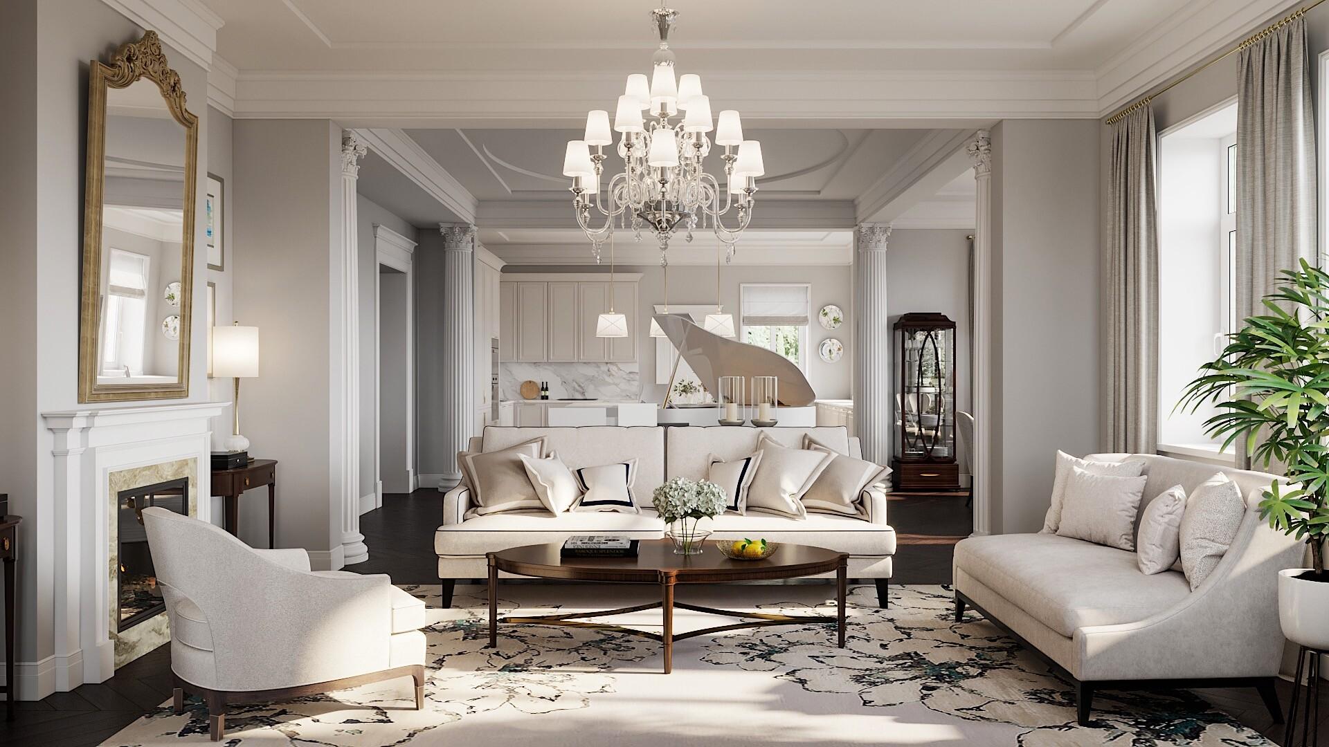 Современная классика в интерьере гостиной: советы по созданию и 45 вдохновляющих примеров