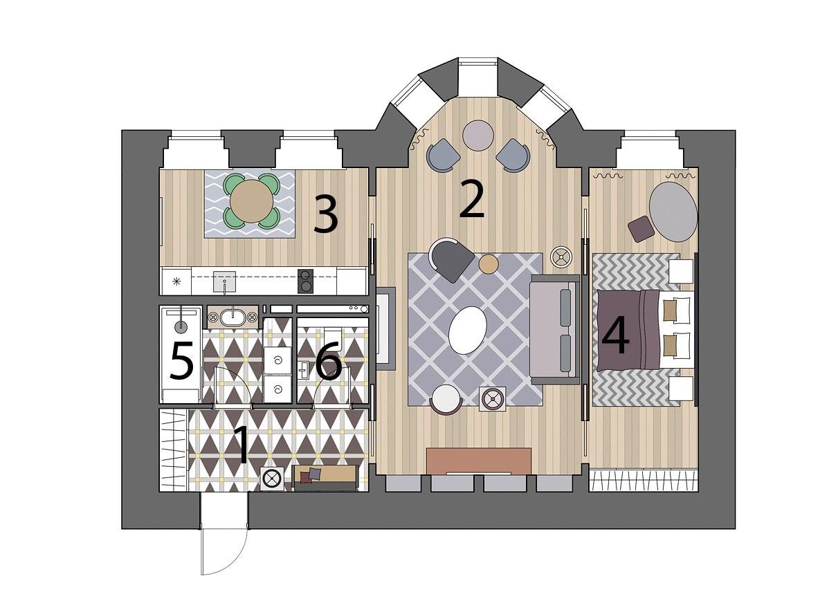 Квартира свободной планировки, которую превратили в двушку со спальней и гостиной