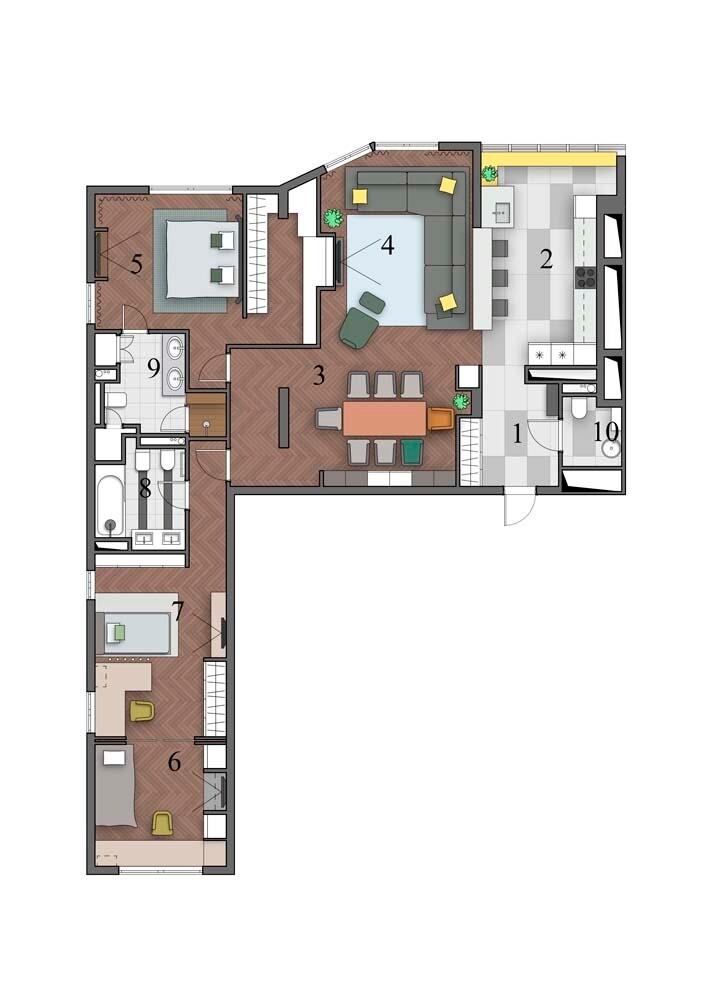 Квартира с чёрными акцентами, которая выглядит светлой и уютной