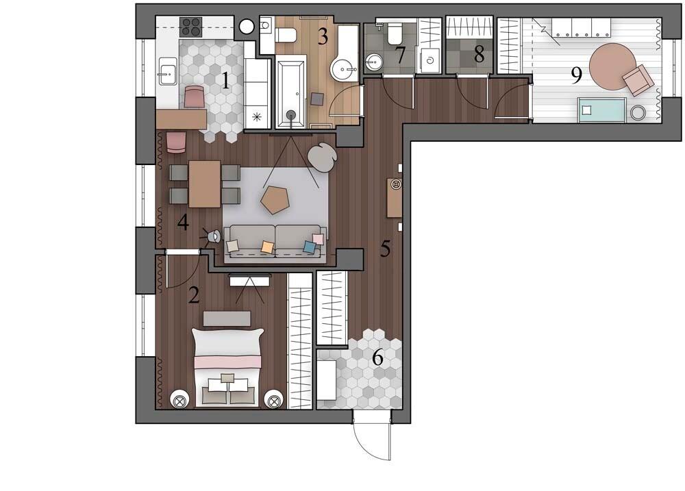 Микс лофта и женственности: квартира в сталинке для семьи с ребенком