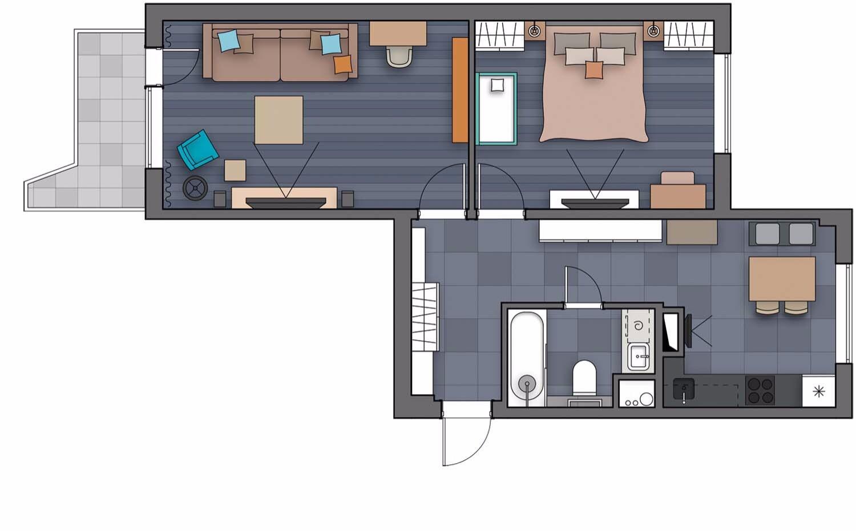 Лофт в панельном доме: уютная двушка для семьи с ребенком