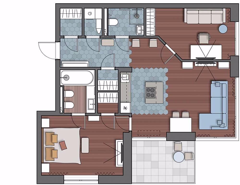 Классика и комфорт: квартира с передовой техникой, постирочной и тремя гардеробными