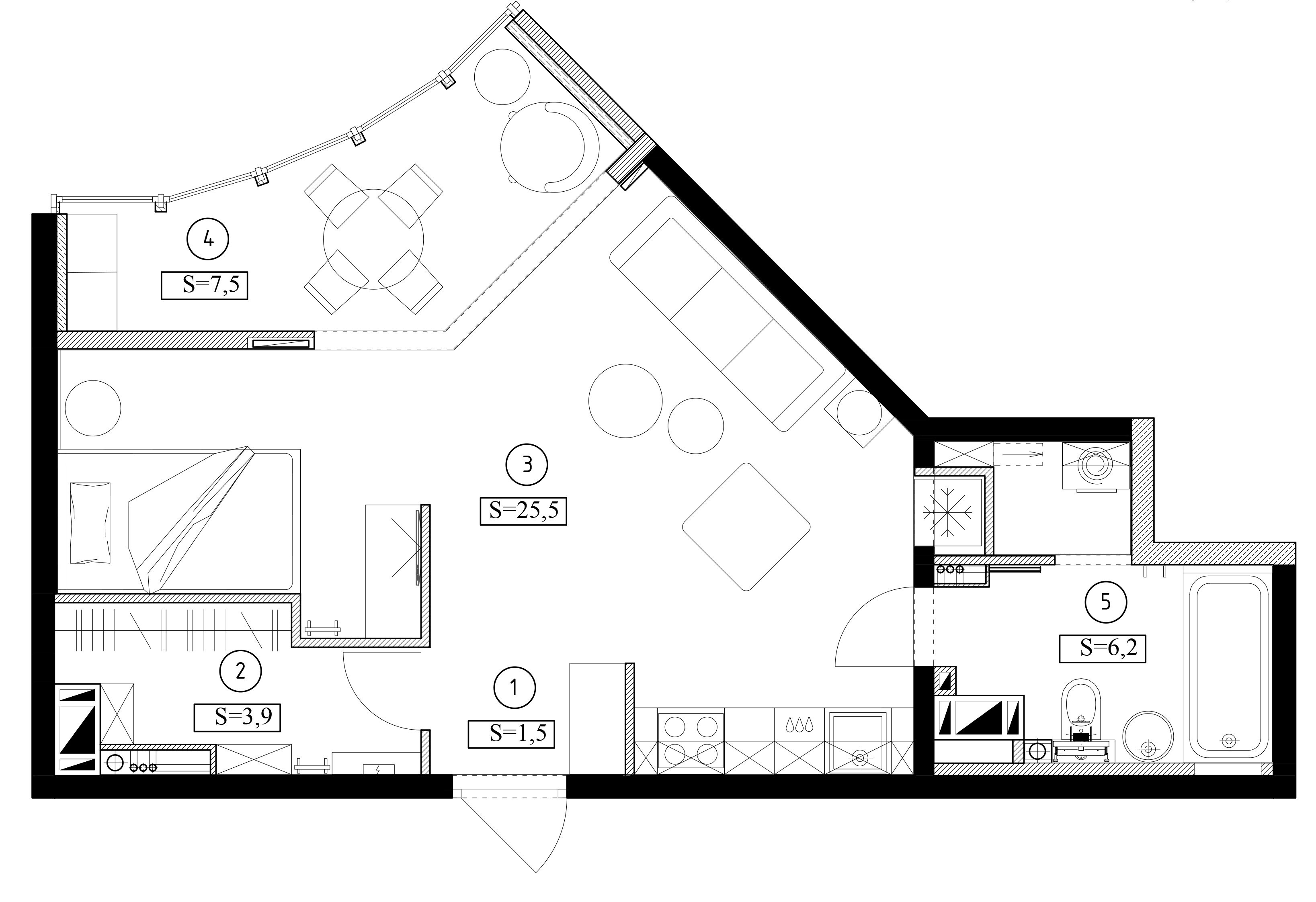 Маленькая студия, в которой нашли место для спальни, гостиной и гардеробной
