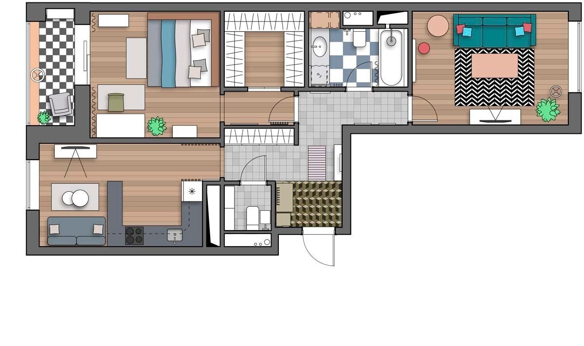 Яркая квартира с двумя гостиными для дружеских посиделок