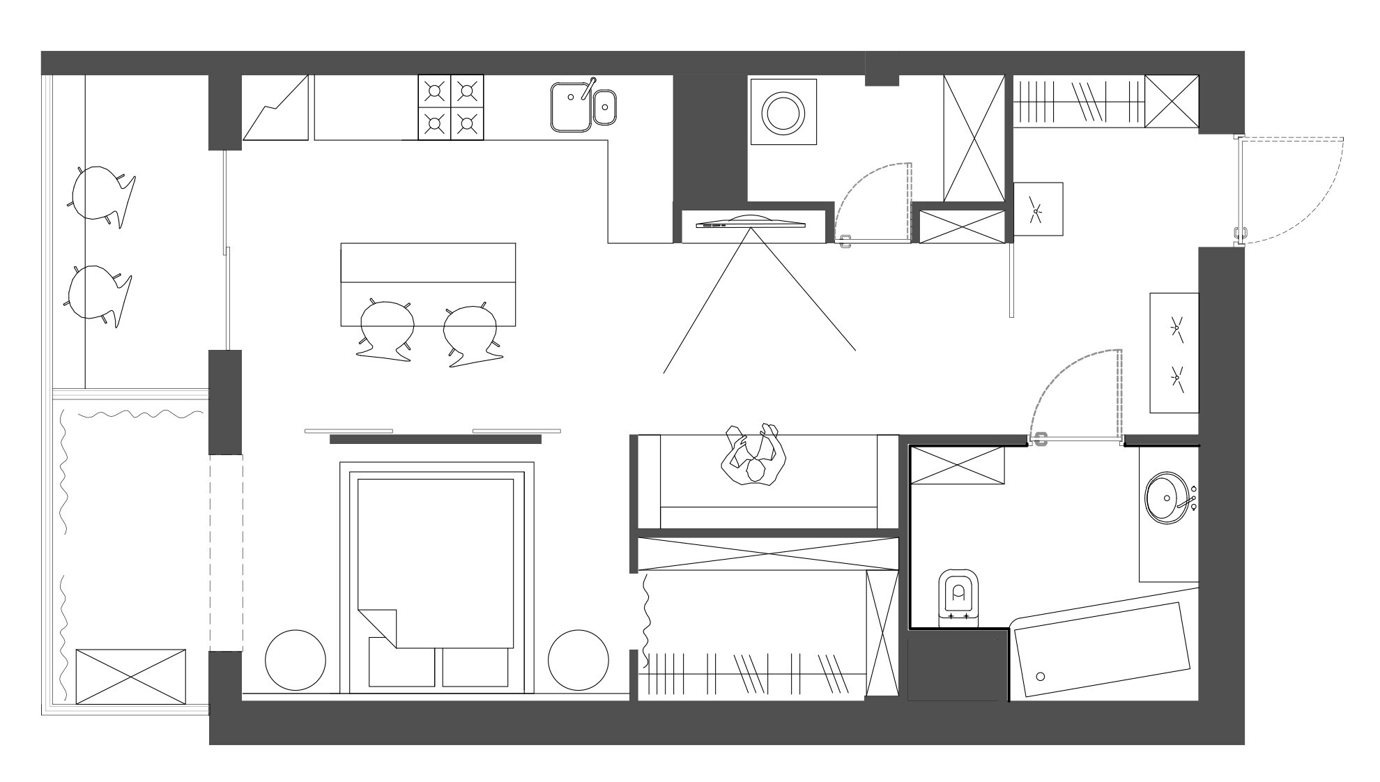 Яркая студия со спальней, гостиной и гардеробной для семейной пары и их бостонского терьера