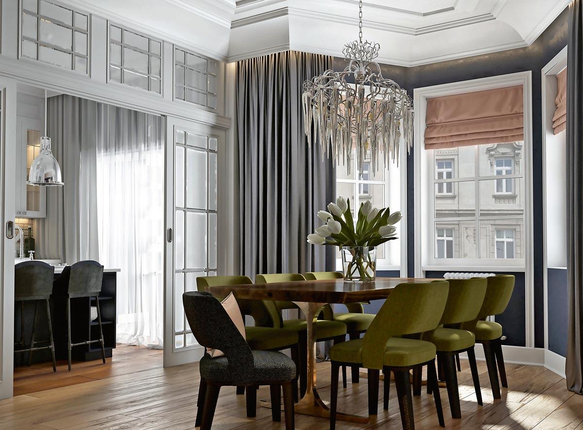 Интерьеры трехкомнатных квартир в стиле неоклассика