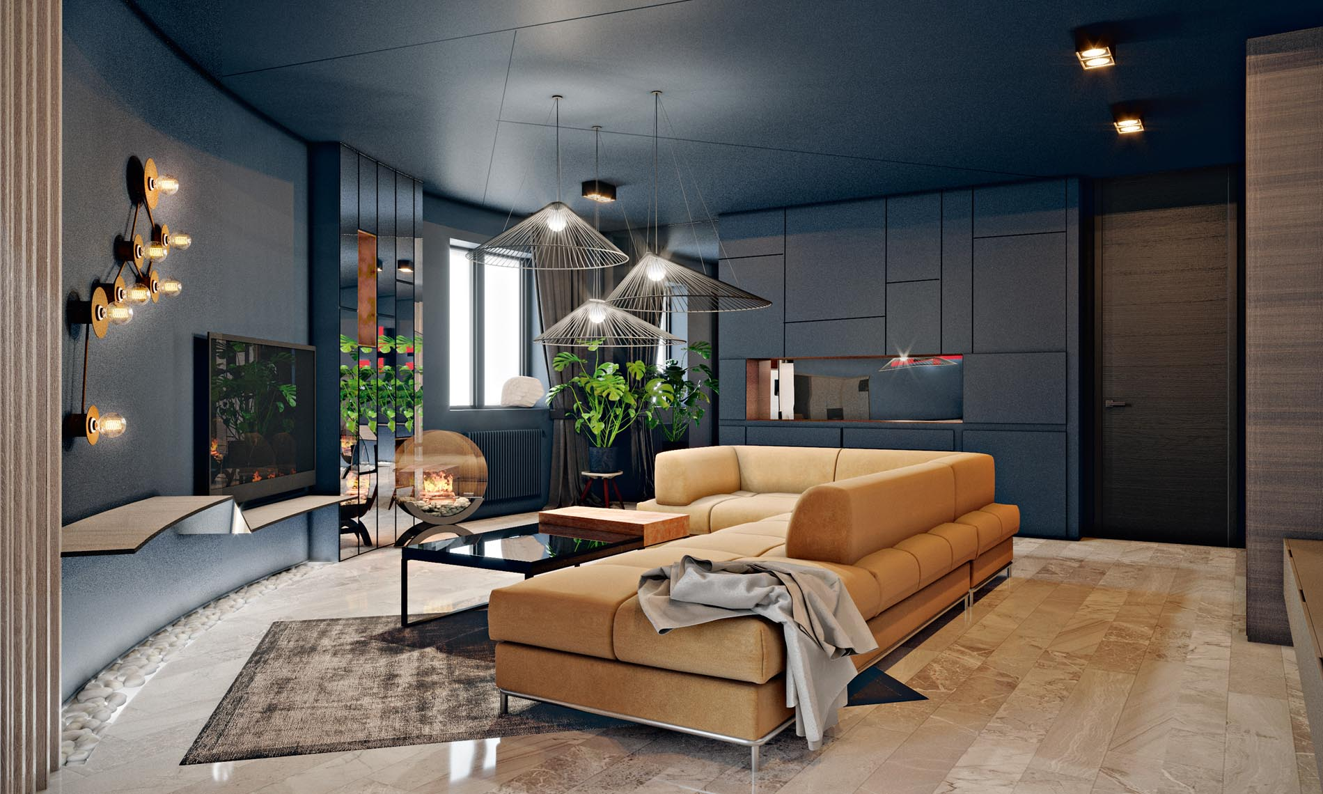 Интерьер трехкомнатной квартиры в серых тонах