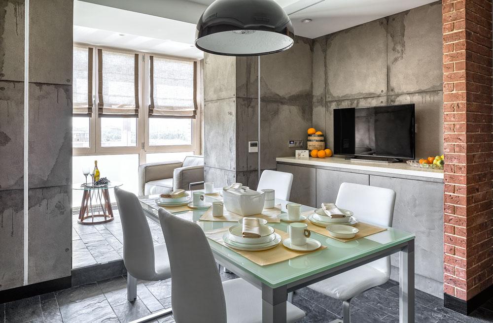 кухня в стиле лофт отсутствие отделки как эффектный дизайнерский ход