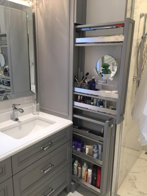 Выдвижные шкафы в ванной