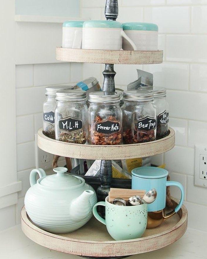стильное хранение организация лайфхак подставка для чая и чашек на кухне