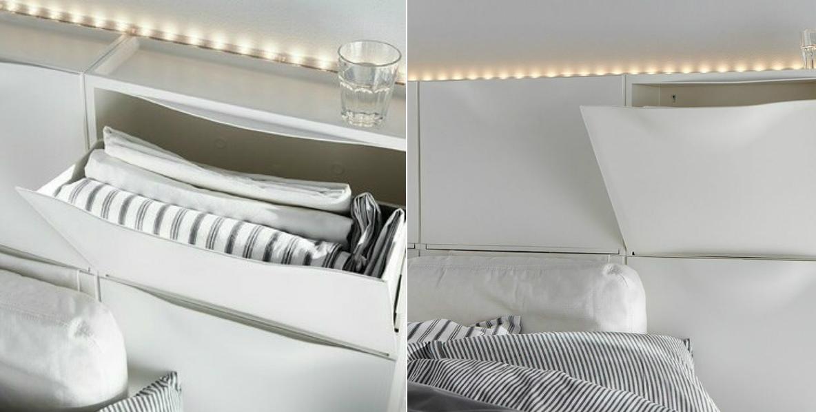 организация пространства в маленькой квартире ящики для хранения в изголовье кровати